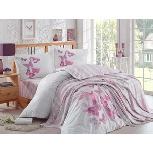 Набор для спальни Hobby home collection Sueno покрывало + КПБ Евро поплин лиловый (1501001418) цена