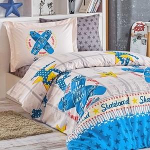 Комплект постельного белья Hobby home collection 1,5 сп, поплин, Skateboard синий (1501001760) комплект постельного белья hobby home collection 1 5 сп поплин melody 1501000889