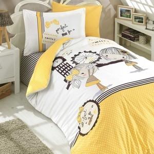 Комплект постельного белья Hobby home collection 1,5 сп, поплин, Smile жёлтый (1501001761) комплект постельного белья hobby home collection 1 5 сп поплин irene бежевый