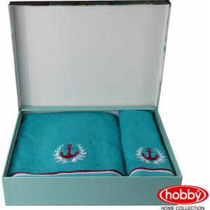 Набор из 2 полотенец Hobby home collection Maritim с вышивкой (50x90/70x140) бирюзовый (1501001401) полотенце махровое hobby home collection maritim серый 70x140 1501001459