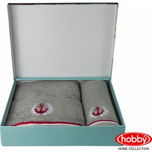 Набор из 2 полотенец Hobby home collection Maritim с вышивкой (50x90/70x140) серый (1501001403) полотенце махровое hobby home collection maritim серый 70x140 1501001459