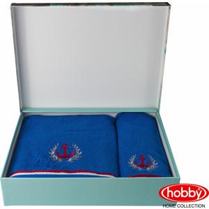 Набор из 2 полотенец Hobby home collection Maritim с вышивкой (50x90/70x140) синий (1501001400) полотенце махровое hobby home collection maritim серый 70x140 1501001459