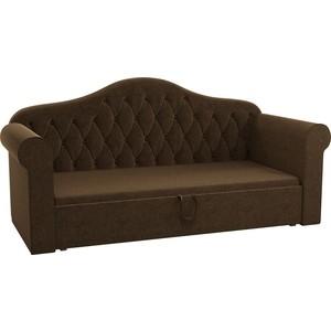 Детская кровать АртМебель Делюкс микровельвет коричневый детская кровать артмебель делюкс микровельвет зеленый