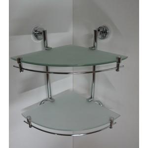 Полка RainBowL Long стекло угловая с ограничителем 2-этажная (D2243-2)