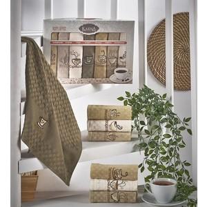 Набор кухонных полотенец Karna вафельное c вышивкой Devon 45x65 см 7 штук (1716) декор decocer devon decor mustard bone 7 5x15