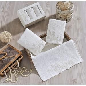 Набор салфеток 3 штуки Irya махровое Sweet с гипюром 30x50 см молочный (2500)