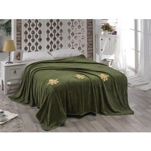 Покрывало Karna вельсофт с вышивкой Damask 200x220 см зеленый (2010/CHAR002)