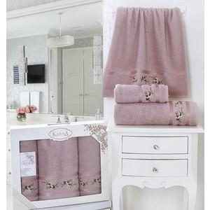 Набор из 3 полотенец Karna Monica (50x90-2/70x140-1) (2393/CHAR006) ночная рубашка для девочки cherubino цвет серый меланж caj 5319 размер 140