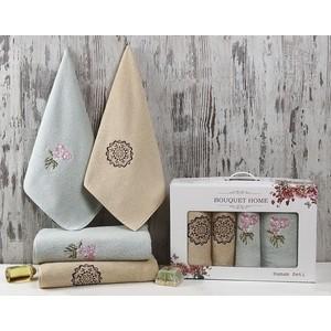 Набор из 4 полотенец Karna Bouquet Home (50X90-2/85X150-2) (2417/CHAR005) calla lily bouquet design glass coaster sets set of 2