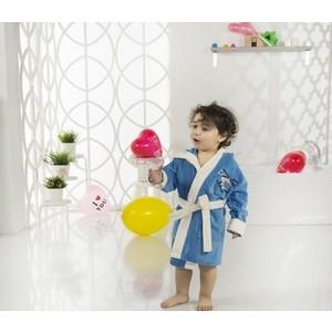 Халат детский Karna велюр с капюшоном Snop -7 (2822/CHAR005)