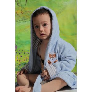 Халат детский Karna махровый с капюшоном Teeny голубой (912/1/CHAR002) халат детский karna махровый с капюшоном silver фуксия 913 3 char002