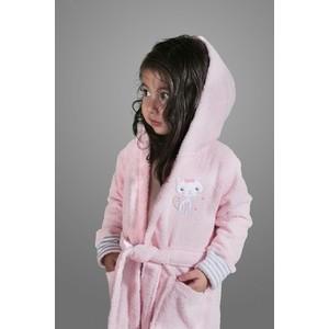 Халат детский Karna махровый с капюшоном Teeny розовый (912/2/CHAR001) халат детский karna махровый с капюшоном silver фуксия 913 3 char001