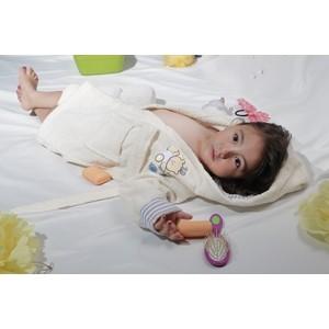 Халат детский Karna махровый с капюшоном Teeny кремовый (912/3/CHAR002) kidboo kidboo халат little pilot махровый белый