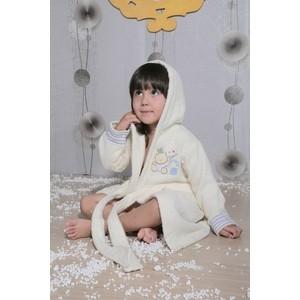 Халат детский Karna махровый с капюшоном Teeny кремовый (912/3/CHAR001) kidboo kidboo халат little pilot махровый белый
