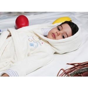 Халат детский Karna махровый с капюшоном Teeny екрю (912/4/CHAR002)