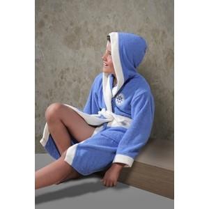 Халат детский Karna махровый с капюшоном Silver голубой (913/1/CHAR003) халат детский karna махровый с капюшоном silver фуксия 913 3 char001