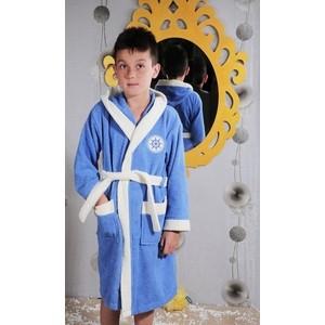 Фото - Халат детский Karna махровый с капюшоном Silver голубой (913/1/CHAR002) халат махровый dome harmonika цвет серо голубой размер m