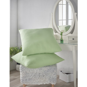 Наволочки 2 штуки Karna трикотажные Acelya 70x70 светло-зеленый (2965/CHAR005)
