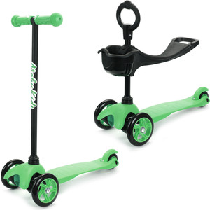 Самокат 2-х колесный Moby Kids 2 в 1 сменный руль зеленый 641158