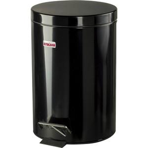 Ведро-контейнер для мусора с педалью Лайма 12л глянцевое, нержавеющая сталь черный 602850 ведро эм 12л конич с кр б рис с41224 с41224п 990441