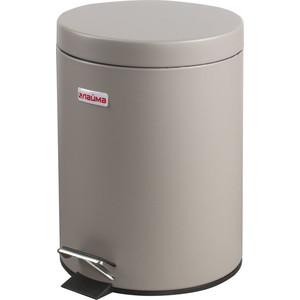 Ведро-контейнер для мусора с педалью Лайма 5л матовое, нержавеющая сталь серый 602849 чайник 2 5л сталь эмал бежевый