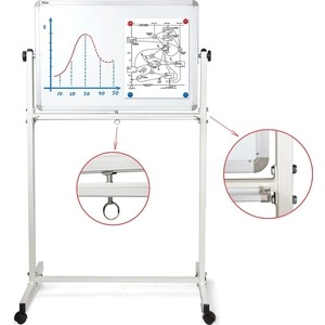 Доска магнитно-маркерная BRAUBERG Двусторонняя 60x90 см на стенде алюминиевая рамка 231717