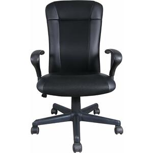Кресло оператора Brabix Optima MG-370 с подлокотниками экокожа/ткань черное 531580 кресло оператора brabix drive mg 350 с подлокотниками черное синее tw 531392