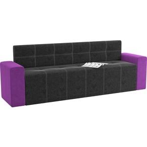 Кухонный диван АртМебель Династия микровельвет черно-фиолетовый цена