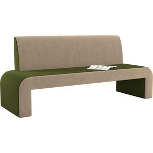 Кухонный диван АртМебель Кармен микровельвет зелено-бежевый