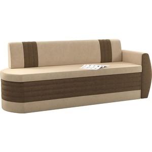 Кухонный диван АртМебель Токио ОД микровельвет бежево-коричневый правый кухонный диван артмебель классик микровельвет бежево коричневый