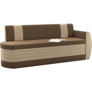 Кухонный диван АртМебель Токио ОД микровельвет коричнево-бежевый правый угловой диван артмебель андора микровельвет коричнево бежевый правый