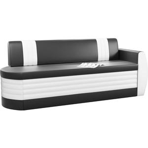 Кухонный диван АртМебель Токио ОД эко-кожа черно-белый правый