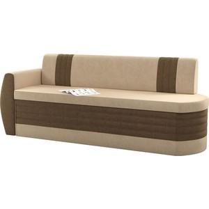 Кухонный диван АртМебель Токио ОД микровельвет бежево-коричневый левый угловой диван артмебель андора микровельвет бежево коричневый левый