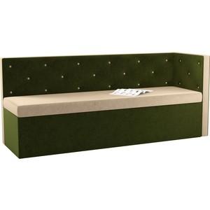 Кухонный угловой диван АртМебель Салвадор микровельвет бежево-зеленый правый угол диван кровать смк дюссельдорф 147 б 2д у1пф правый угол 352 alba ash