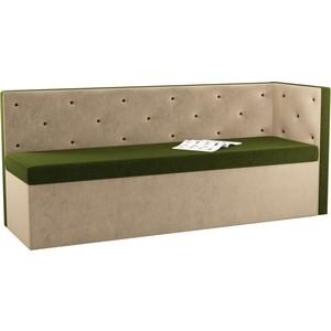 Кухонный угловой диван АртМебель Салвадор микровельвет зелено-бежевый правый угол угловой диван артмебель андора микровельвет коричнево бежевый правый