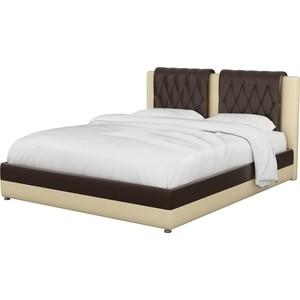 Интерьерная кровать АртМебель Камилла эко-кожа коричнево-бежевый все цены