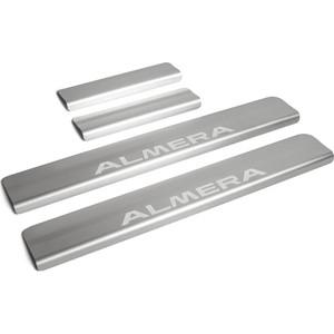 Фото Накладки порогов Rival для Nissan Almera (2013-н.в.), нерж. сталь, с надписью, 4 шт., NP.4104.3