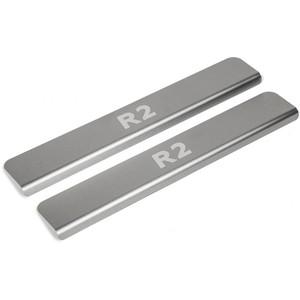 Накладки порогов Rival для Ravon R2 (2016-н.в.), нерж. сталь, с надписью, 2 шт., NP.1301.1