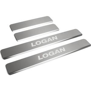 Накладки порогов Rival для Renault Logan (2014-н.в.), нерж. сталь, с надписью, 4 шт., NP.4701.3