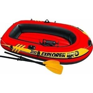 Лодка надувная Intex Explorer Pro 200 Set 196х102х33 см с пластиковыми веслами и насосом 58357 лодка надувная intex эксплорер 200 58330