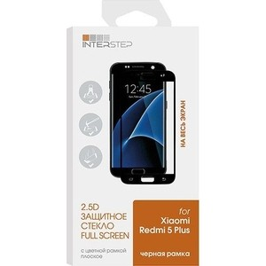 Защитное стекло Interstep Redmi 5 Plus 2.5D черная рамка l