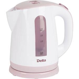 Чайник электрический Delta DL-1326 белый с сиреневым чайник электрический delta dl 1203 коричневый с бежевым