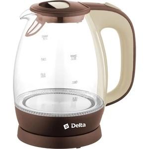 Чайник электрический Delta DL-1203 коричневый с бежевым утюг delta lux dl 556 белый с малиновым