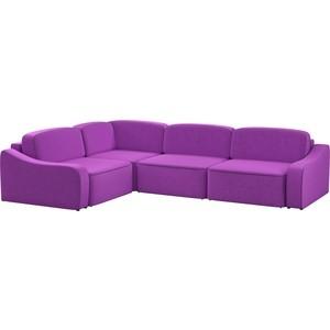Диван угловой АртМебель Триумф Long микровельвет фиолетовый левый угол