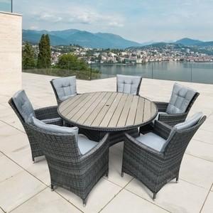 Комплект мебели из искусственного ротанга Afina garden AFM-190 grey/light blue (6+1)