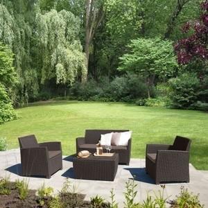 Комплект мебели с диваном Afina garden AFM-2018A brown/cappuccino (имитация ротанга) 4Pcs