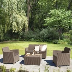 Комплект мебели с диваном Afina garden AFM-2018B beige/beige (имитация ротанга) 4Pcs комплект мебели из ротанга афина мебель t282bnt w53 y90c w51 2pcs