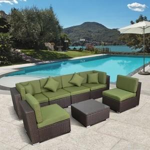 Комплект мебели из искуственного ротанга Afina garden YR822BG brown/green green garden диван ландыши
