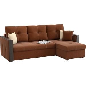Угловой диван АртМебель Валенсия рогожка коричневый правый угол