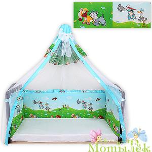 Бортик в кроватку Осьминожка вуаль высокий (4 стороны выс.40см) голубой УТ000002208
